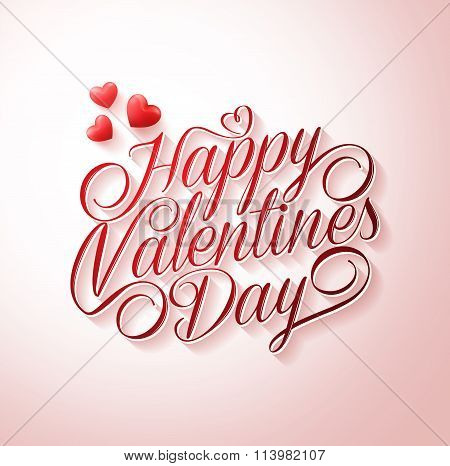 Happy Valentines Day Typography Title in White with Long Shadow