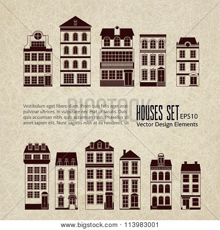 Set of 11 retro vintage urban city houses silhouettes on grange pale sandy beige background
