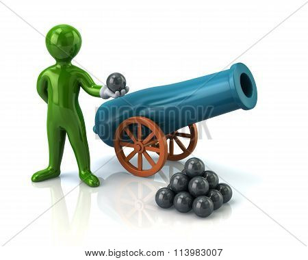 Illustration Of Green Man And Artillery Gun