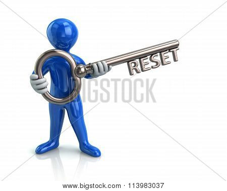 Blue Man And Silver Key With Reset
