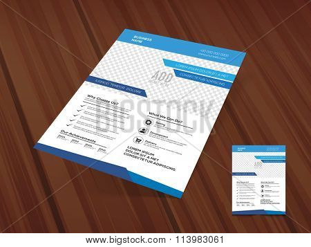 Stylish One Page Business Flyer, Banner or Pamphlet in blue and white colors on wooden background.