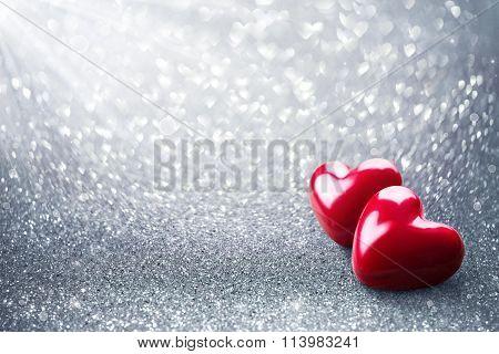Two Hearth On Silver Glitter - Valentine Card