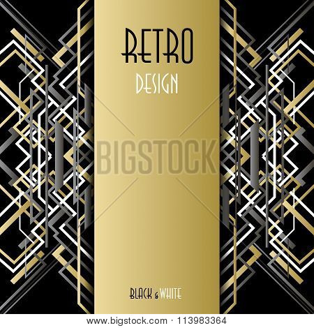 Background with golden silver black art deco outline style design.