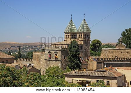 Toledo, Spain - August 24, 2012: Aerial View Of Toledo. The Puerta De Bisagra Nueva (the New Bisagra