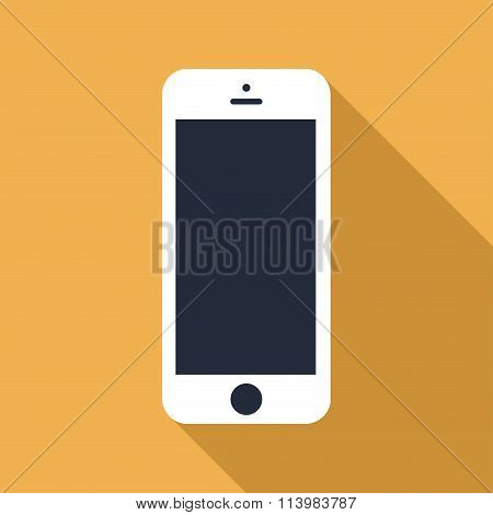Smartphone Icon In The Style Flat Design On The Yellow Background. Stock Vector Illustration Eps10