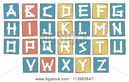 Set of colorful uppercase  alphabet letters on square with frame