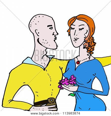 Valentine's Day. Cartoon Romantic love people.