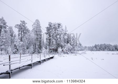 Snowy White Winter Bridge