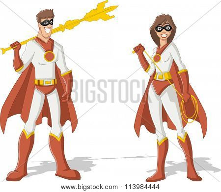 Superhero Couple. Male and female superheroes characters.