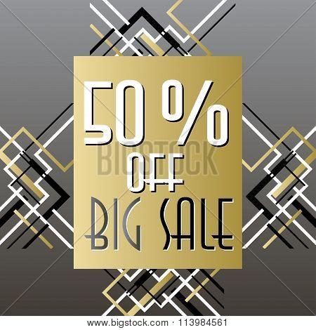 Golden black sale banner template in art deco outline style