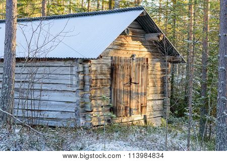 Small Old Barn In The Forrest