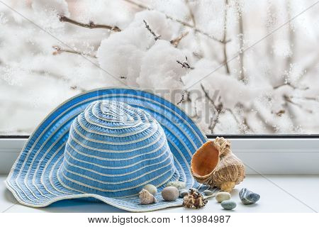 Summer Hat, Seashells On The Windowsill In The Winter