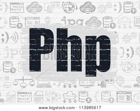 Database concept: Php on wall background