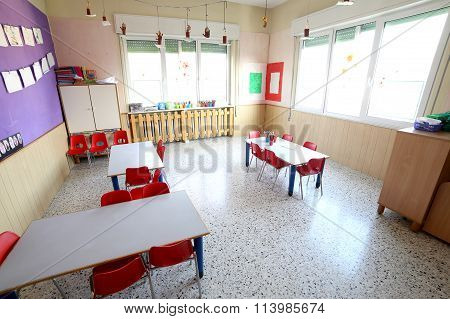 Of The Kindergarten Classroom With Drawings On The Walls