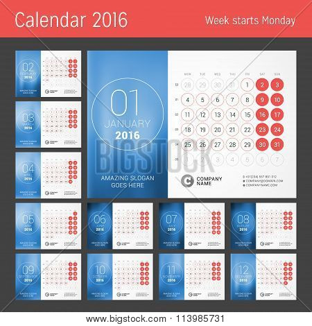 Calendar For 2016 Year. Vector Design Print Template. Week Starts Monday. Calendar Grid With Week Nu