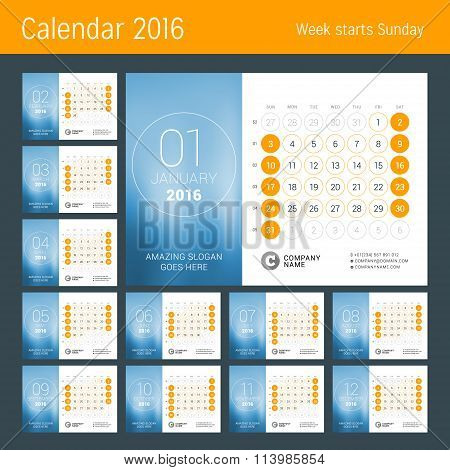 Calendar For 2016 Year. Vector Design Print Template. Week Starts Sunday. Calendar Grid With Week Nu