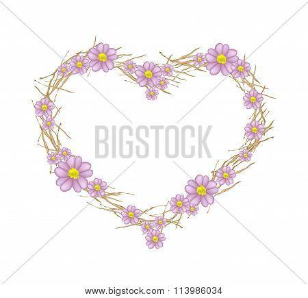 Purple Yarrow Flowers Forming in A Heart Shape