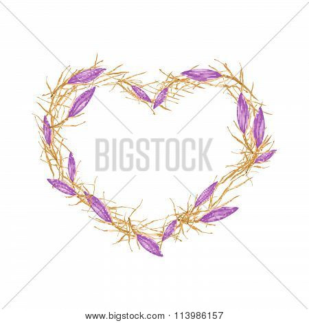 Violet Equiphyllum Flowers In Heart Shape Frame