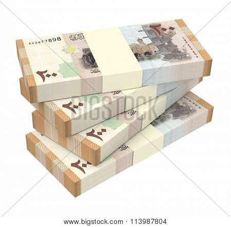 Syrian pounds bills isolated on white background. Computer generated 3D photo rendering.