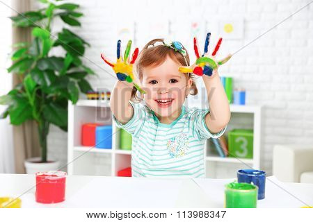 Hands In Colored Paint  Happy Child Girl