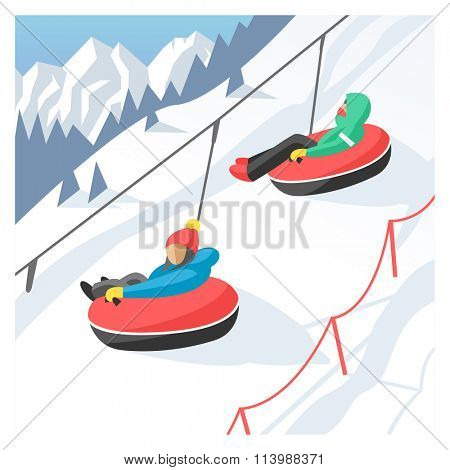 Snowboarder sitting in ski gondola and lift elevators. Winter sport resort background. Snowboard people rest. Snowboarder lifting. Special snowboard elevators. Ski elevators vector. Snowboard jump