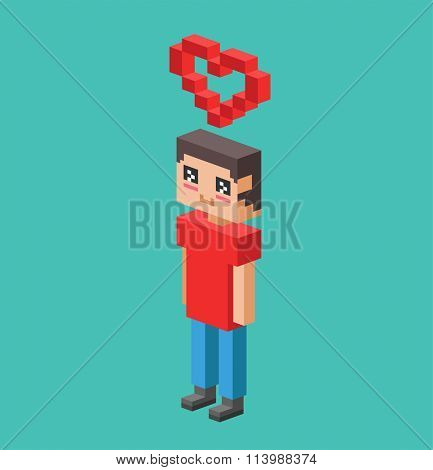 Cute cartoon boy with heart vector illustration. Vector boy fall in love, heart symbol. Cartoon boy valentine day card design. Cartoon boy with red heart isolated on background