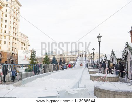 Ice Slides On Manezh Square In Moscow