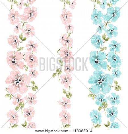 Watercolor flowers seamless pattern, floral brushes