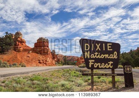 Dixie National Forest Sign At Red Canyon, Utah
