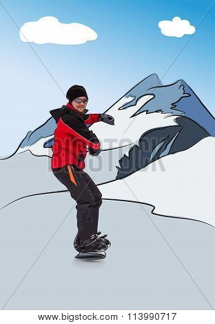 Snowboarder On Downhill