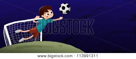 Drawing of boy playing soccer goalkeeper