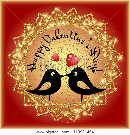 Card With Lovebirds On Frame From Golden Glitter With Lettering On Valentine's Day