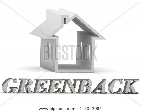 3D illustration GREENBACK- inscription of silver letters and white house on white background