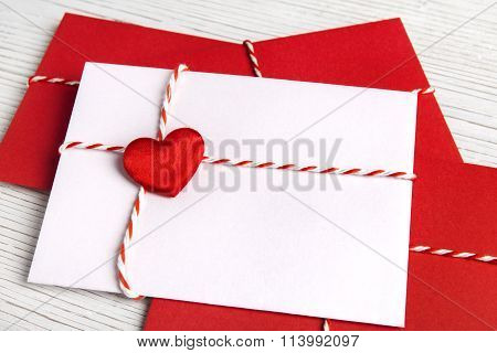 Envelope Mail Of Valentines Day, Valentine Letter With Red Heart