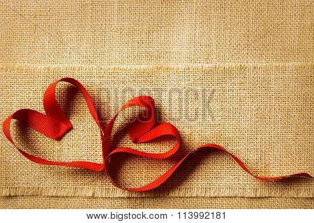 Valentines Day Heart, Wedding Couple, Valentine's Hearts Sackcloth Background