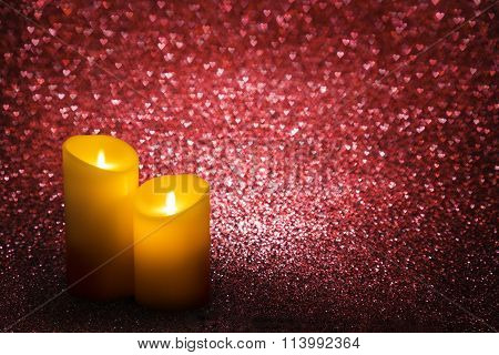 Valentines Day Candles Red Hearts Background, Valentine s Candle Lights, Wedding Couple Love