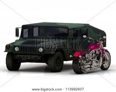 Battle ARMY howitzer jeep and motobike Isolated on white background