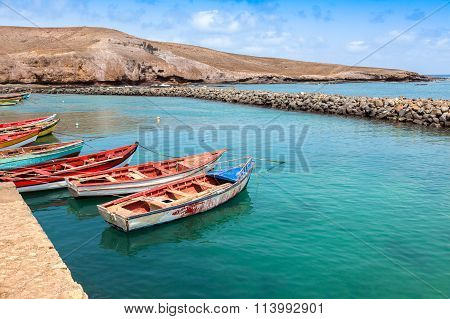 Fisher Boats In Pedra Lume Harbor In Sal Islands - Cape Verde - Cabo Verde
