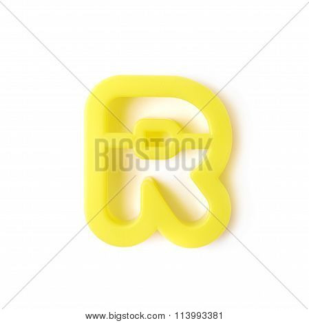 Single R letter form isolated