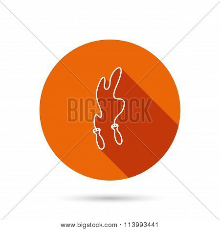 Skipping rope icon. Jumping sport tool sign.
