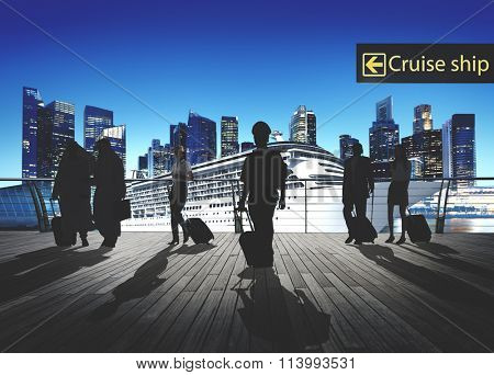 Business People Traveling Passenger Walking Cruise Ship Concept