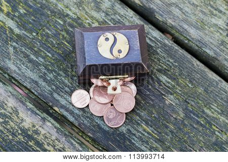 Treasure Chest With Euro Coins