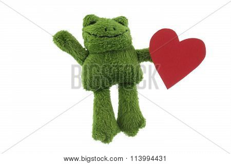 Green Frog Toy With Heart Studio Shot