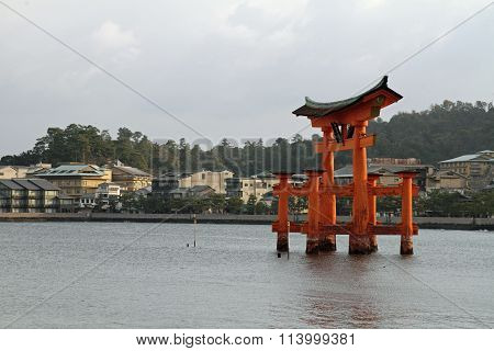 Floating gate of Itsukushima Shrine in Miyajima Hiroshima Japan