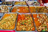 picture of chinese food  - variety of thai food in fresh market Asia Thailand - JPG