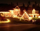 stock photo of christmas lights  - christmas lights on houses in north america - JPG