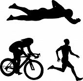 stock photo of triathlon  - three disciplines of triathlon  - JPG