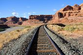stock photo of potash  - Potash Railroad through Sandstone Canyon in Utah - JPG