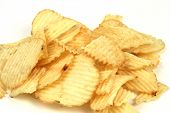 picture of potato chips  - pile of potato chips on a white background - JPG
