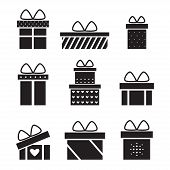 Present box isolated black silhouette icons on white background. poster